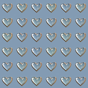 Lots of Hearts 12: Metallic or glass hearts in a geometric pattern, suitable for a texture, background, backdrop or fill, a birthday card or wrapping, anniversary, wedding, or valentine.