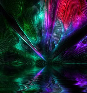 Alien World 1: A concept of an alien cave with water, full of colour (color) and reflections. Would make a great background or texture for an album or book cover. Would look great as a poster. None of my images may be given away, sold, or redistributed in any manner wit
