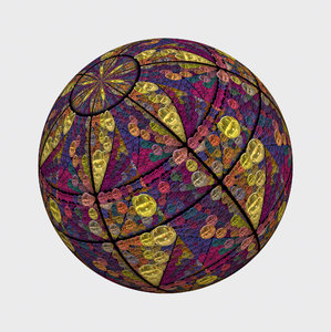 Sphere 1: A futuristic sphere or orb, made up of smaller spheres. Rich colours and textures. May be used as a futuristic symbol or background, or a decorative element.