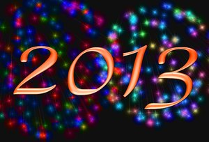 2013 d: 2013 banner against a backdrop of fireworks. Lots of colour and a feeling of celebration. Perhaps you would prefer these: