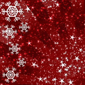 Sparkles and Snowflakes 5: Snowflakes and stars on a Christmassy red background. Bright and festive, and a pretty fill, background or texture.