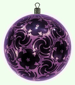 Christmas Bauble 11: An ornate Christmas bauble decorated with a pink metallic pattern.