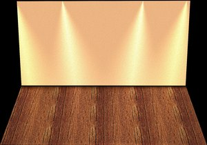 Stage Backdrop 4: A wall and floor with lighting effects that could be a stage, shelf or empty room.