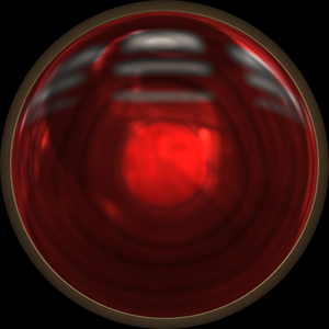 Light 3: A red high resolution metal framed round light that could be a traffic light.