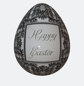 Ornate Easter Egg 2: A patterned 3d easter egg with the message,