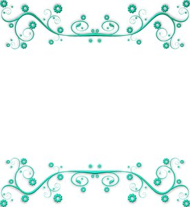 Ornate Metallic Border 2: An aqua metallic ornate swirly border or frame on a white background. You may prefer this:  http://www.rgbstock.com/photo/nXQED7M/Golden+Ornate+Border+6  or this:  http://www.rgbstock.com/photo/nvi0UW8/Golden+Ornate+Border+2