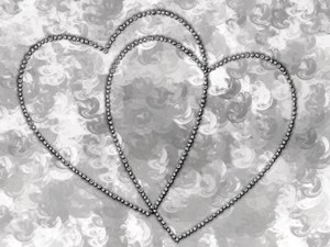 Love 6: Romantic background with diamond hearts,against an arty background. Great background, texture, anniversary, wedding or valentine image.