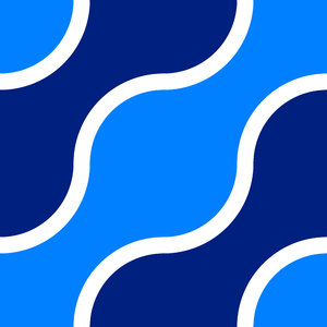Retro Pattern 5: A retro pattern in a 1970's style in navy, blue and white.