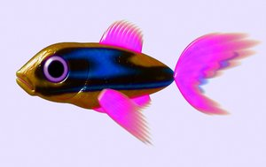 A Little Fish 2: A cute little 3d fish in bronze, blue and pink against a pale blue background.