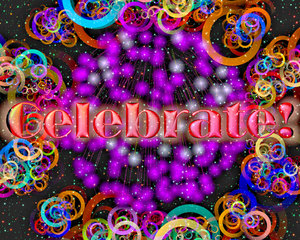 Celebrate: A busy, sparkly swirly festive background with fireworks and the word,