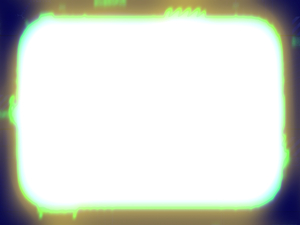 Neon Grunge Border 1: A rounded rectangle grunge border or frame in neon colours with a white background and plenty of copyspace.