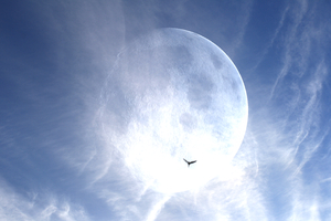 Giant Moon 6: A giant moon with spectacular clouds and a bird flying past. You might prefer: http://www.rgbstock.com/photo/mR30UG0/Giant+Moon+Over+Water  or:  http://www.rgbstock.com/photo/mUCzx9G/Giant+Moon+and+Plane