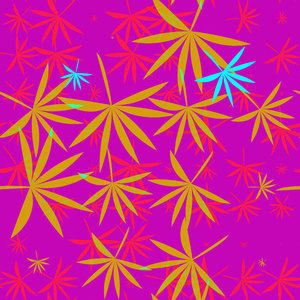 Bamboo Leaves 8: A colourful backdrop, texture, pattern or fill with leaf shapes reminiscent of bamboo or marijuana.