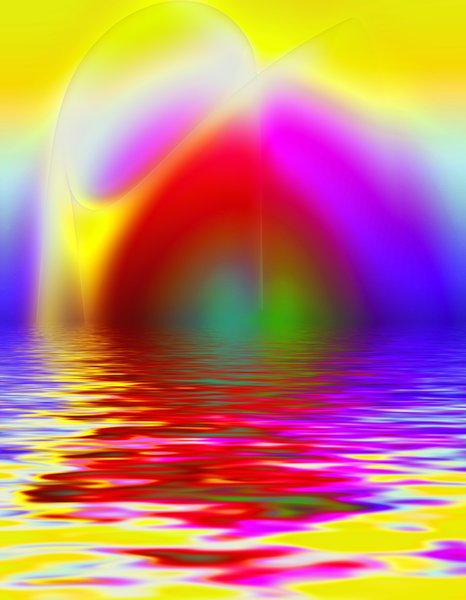 Abstract with Water: Futuristic background, bright shapes and colours.