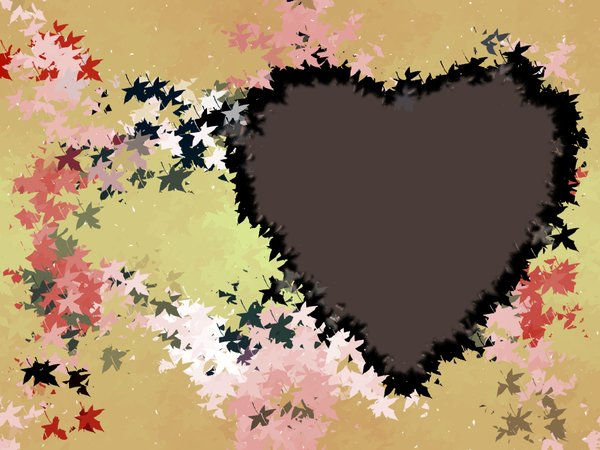 Leafy Heart 5 : A grungy, leafy background with a heart shape.