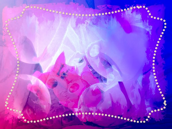 Pearl Border: Pink and blue background with pearls or pearl shaped border or frame.