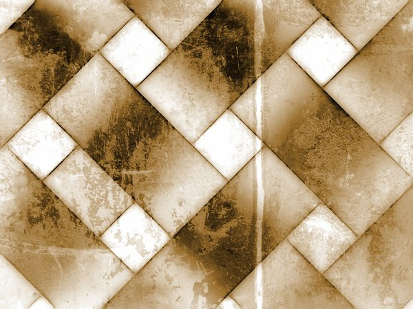 Grunge Tiles: Old grunge tiled background in sepia tones in a diagonal pattern.
