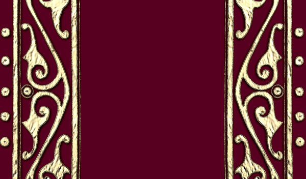 Book Cover: Ancient patterns in metal on the outside of a book cover in maroon. Suitable for diary covers, banners, frames etc.