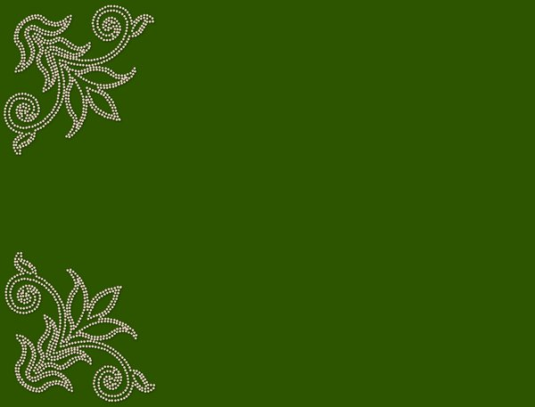 Pearl Corners 7: Pearl border on a plain green background.