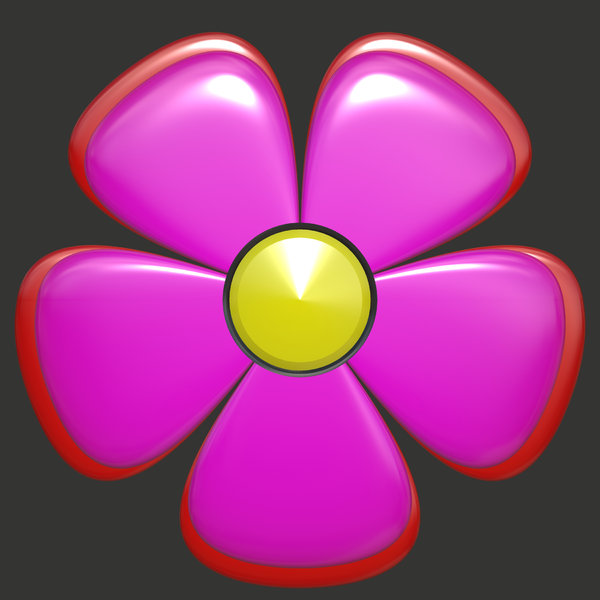 Graphic Flower 1: A graphic 3D cartoon flower, big and cheerful. Could be used as a button, icon, texture, or cut out and duplicated.