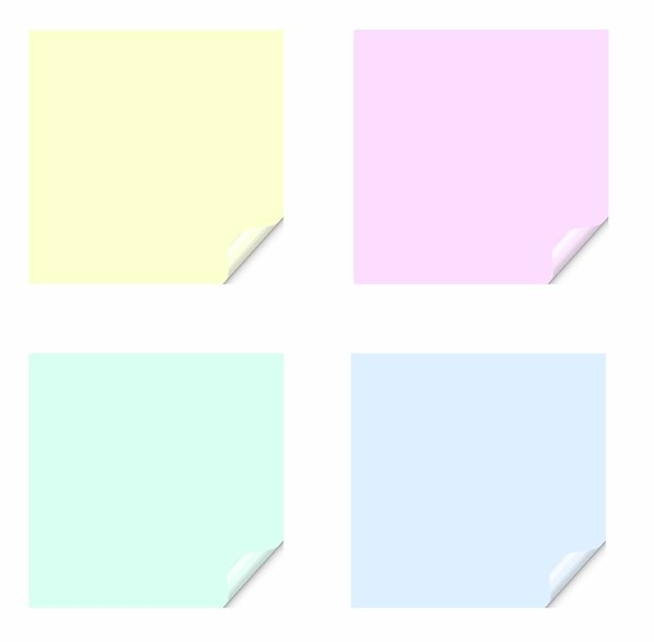Stickers 11 Squares: Square stickers with a lifted edge, in pastel colours. Copyspace for your pricing, message or announcement. May be used as web buttons. These colours would look good on a baby or children's site, too.