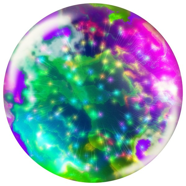 Abstract Bauble 3: A sphere, ball or orb with internal stars, fireworks and webs. Can be used for web buttons or xmas decorations, etc.
