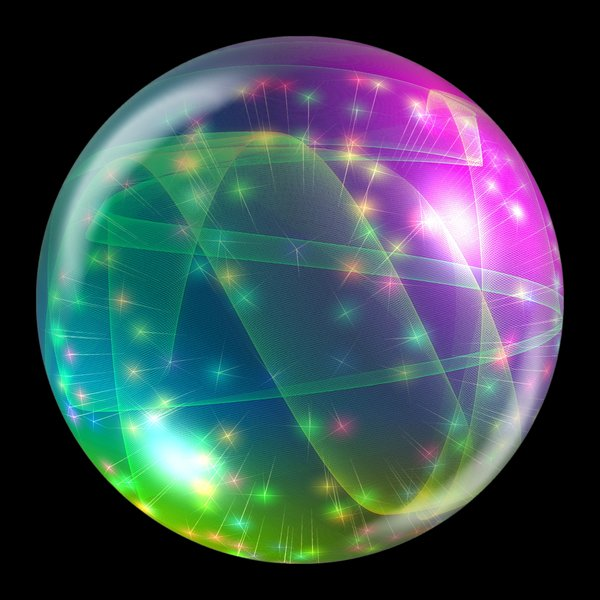 Abstract Bauble 1: A sphere, ball or orb with internal stars, fireworks and webs. Can be used for web buttons or xmas decorations, etc.