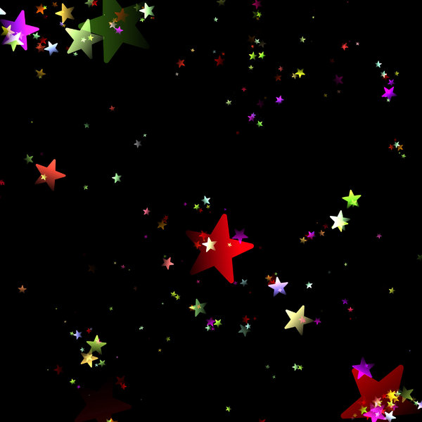 Lots of Stars 4: A black sky with rainbow coloured stars - just magic! A grat background, texture,fill, or element.