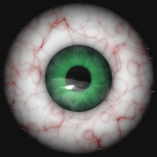 Eyeball 2: An isolated bloodshot green eye.