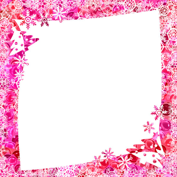 Christmas Frame: Snowflakes, baubles and trees make a fabulous Christmas border for advertisements, brochures, cards, covers, gift tags, etc. Shades of pink and red with a white background.