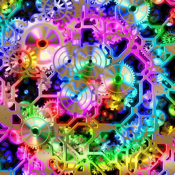 Rainbow Clockwork: A metallic network of frames, wheels and gears in bronze and highlighted with pastel rainbow colours. You may prefer this:  http://www.rgbstock.com/photo/nvTlYMm/Clockwork+4  or this:  http://www.rgbstock.com/photo/noCGNTk/Clockwork