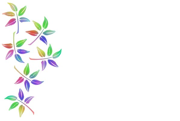 Leaf Border: A pretty border of colourful illustrated leaves on a white background.