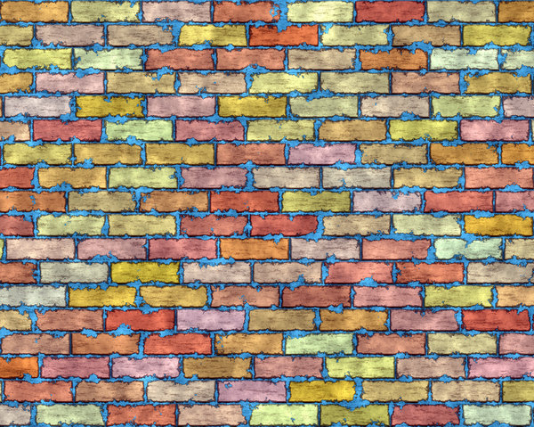 Coloured Brick Wall 1: A brick wall in a riot of colours, with grungy mortar. High resolution image.