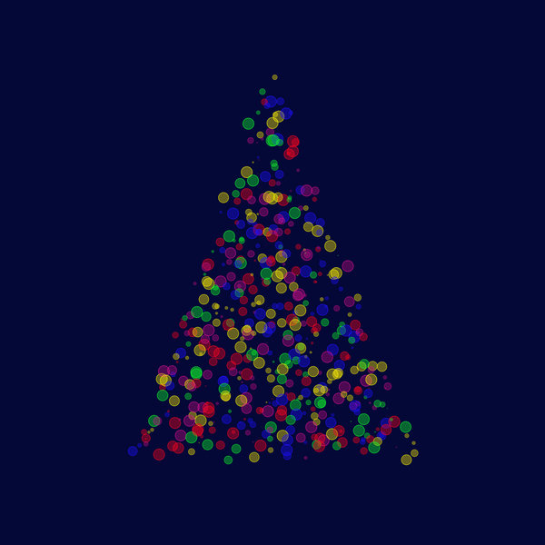 Tree of Lights: A Christmas tree made of bubbles, lights or bokeh. Lots of fun colours, and plenty of copyspace. Dark blue background.