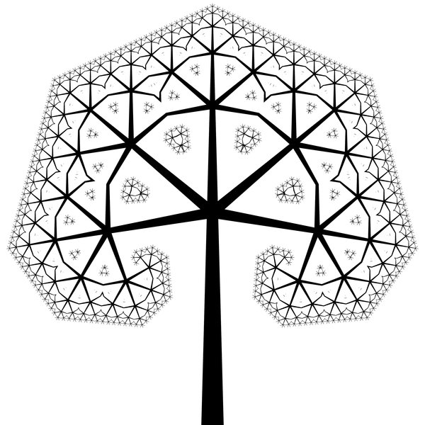 Fractal Tree 4: An ornate fractal tree in black and white. Very decorative for a card, etc. You must ask me for permission if you wish to use this on saleable items or if you wish to offer it for download elsewhere.