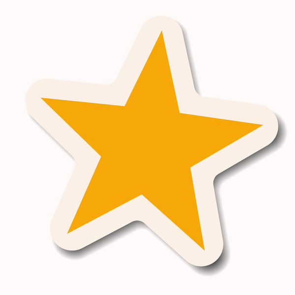 Star Sticker 1: A yellow pastel star sticker with a white border. Makes a great attention-getting announcement bubble, price tag or label.