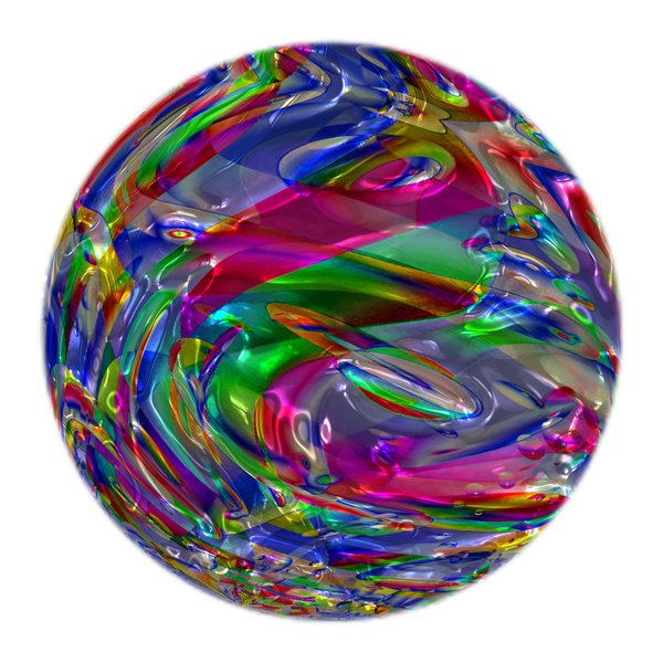Colourful Metallic Ball: A multi-coloured metallic ball, which could be used as a Christmas bauble, a crystal ball, or in fills and fantasy backgrounds. Also makes a great texture.