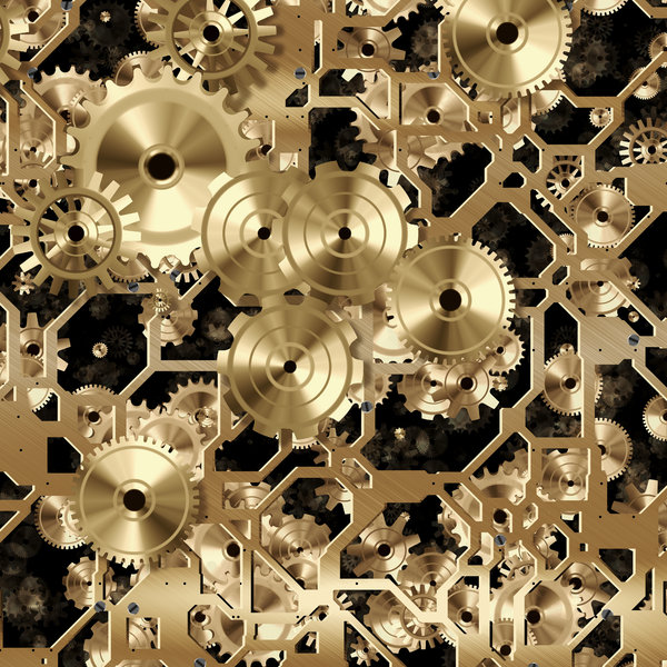 Clockwork 4: A metallic network of frames, wheels and gears in bronze. Great symbolism or a fabulous textured background. Perhaps you would prefer this: http://www.rgbstock.com/photo/nvAzJ34/Clockwork+2