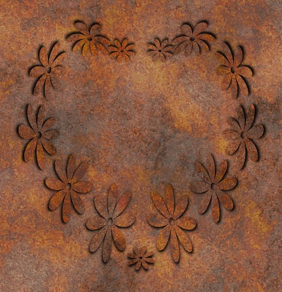 Steampunk Floral Heart: A grungy rusted metal steampunk floral heart. No Zazzle or Café Press or use outside the image licence without my written permission. You may prefer:  http://www.rgbstock.com/photo/nrk2o2i/Rivets+and+Seal  or:  http://www.rgbstock.com/photo/nDdN3Y8/Maze+
