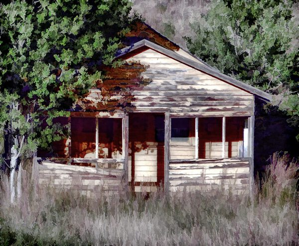 Derelict House: Old, abandoned derelict house with a painterly effect. Made from a public domain image, but my image is copyrighted. Use within the image licence or contact me. You may prefer:  http://www.rgbstock.com/photo/o19qtRi/Abandoned+Shed  or: http://www.rgbstock