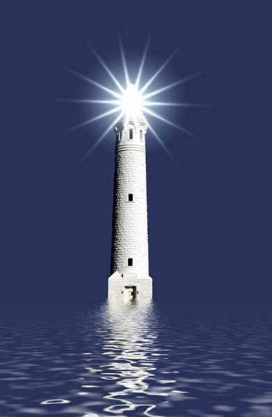 Lighthouse: A lighthouse, symbol of danger and hope.