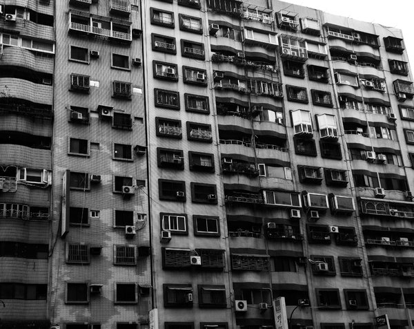 Dreary Apartments: In Taiwan, apartments are one shade of grey.