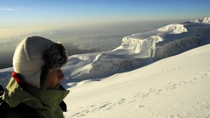 On the top of the world: Snow of Kilimanjaro. South Glacier from the edge of crater (about 5800m)