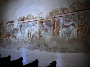 Medieval paintings: medieval paintings in a small temple in Hungary