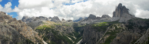 Panorama in Dolomites: panorama view in Italian Dolomites, famous trekking and ski location