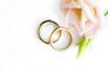 Golden wedding rings 2: Golden rings on white background