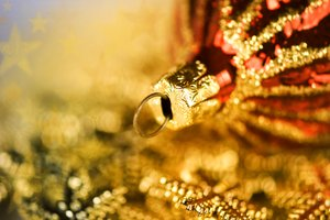 Golden Christmas: Red and golden Christmas bauble