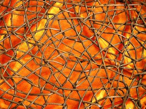 Wired background: wire on orange background