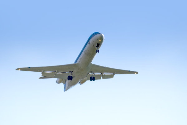 Airplane: Airplane in blue sky