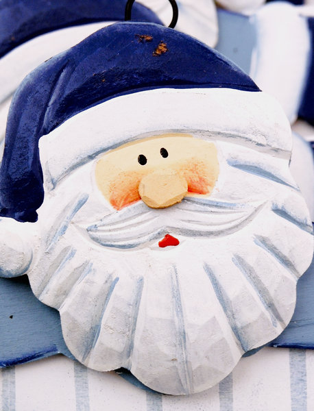 Blue Santa: Wooden blue Santa decoration